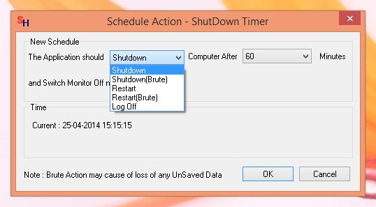Schedule Action - ShutDown Timer