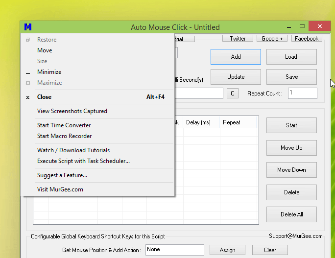 Auto Mouse Click System Menu offering Macro Recorder, Time Converter, etc