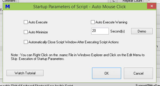 Control Startup Parameters of Auto Mouse Click Script Window