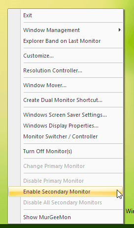 System Tray Menu of Dual Monitor Software
