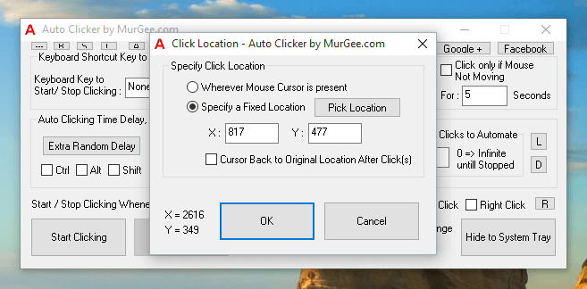 Location of Automated Mouse Clicking