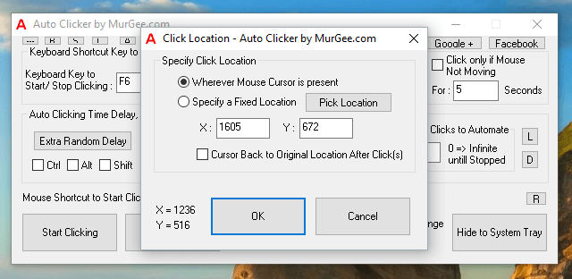 Automate Mouse Clicking at Fixed Screen Location or at Current Mouse Cursor Location