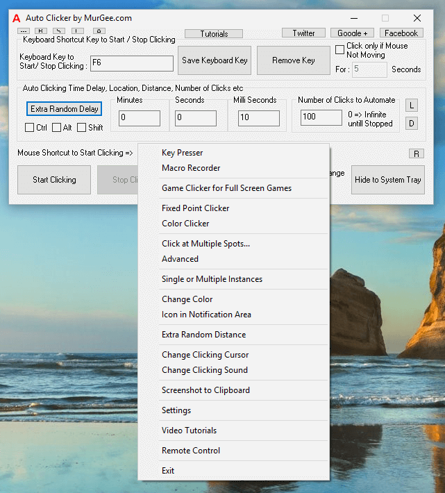 Right Click Menu offering Advanced Automated Mouse Clicking Features